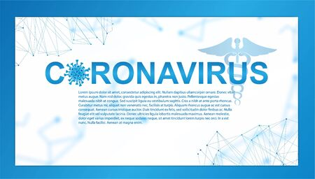Coronavirus 2020. Info banner Covid-19 with polygonal lines and 3d bacteria with information. Corona virus 2020, world pandemia. Web page banner. Vector illustration