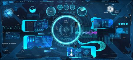 VR Head-up display with futuristic design. Virtual simulation for sky-fi helmet in HUD style. Futuristic User Interface Cockpit dashboard Spacecraft panel. Virtual graphic touch. Vector VR, GUI, HUD