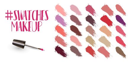 Swatches makeup set. Lipstick strokes for color presentation. Beauty cosmetic nude brush stains smear makeup lines set lipstick swatches texture. brush stroke texture. Vector collection Illustration