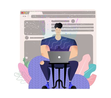 Freelancer programmer creates an application remotely. Cartoon guy sitting and working on laptop. Quarantined Remote Work, Fashion Programmer. Vector illustration