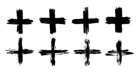 Set of plus signs in grunge style. 8 highly detailed and different crosses. Plus black isolated on white background, vector illustration Illustration