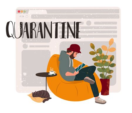 Quarantine and workflow at home due to coronavirus. Freelancer guy working at home with pets and plants. Social distancing and self-isolation during covid-19 virus quarantine. Vector illustration