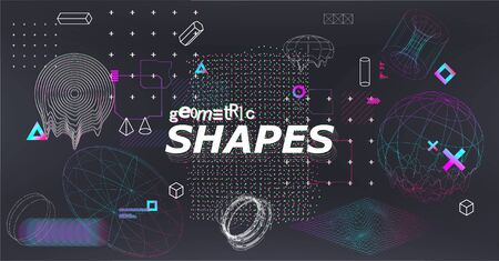 Science fiction abstract elements set with 3D gradient shapes and glitched geometric figures. Cyberpunk retro futurism set, vaporwave. Digital memphis collection. Vector illustration