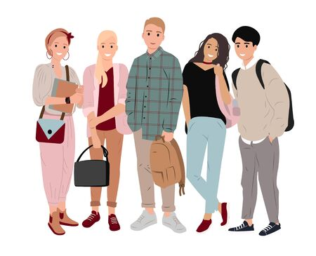 Group happy students with books, backpacks and bags on isolated background. Smiling school friends or students, teenage boys and girls, stand upright in flat style. Colorful vector illustration.