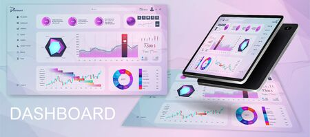 Beautiful dashboard UI. Modern pink purple admin panel with data graphics and diagrams, clean and simple app interface. Dashboard UI, UX, KIT. Analytics panel Mockup. Vector illustration