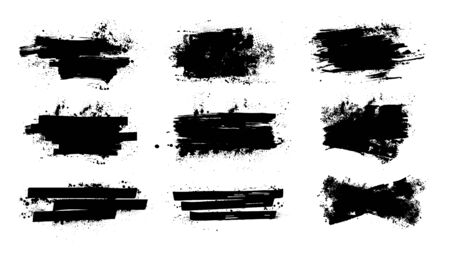 Splashes banners grunge for you design. Horizontal black splashes with drops blots. Isolated set dirty liquid, high quality manually traced. Vector banners template, dirty texture Illustration