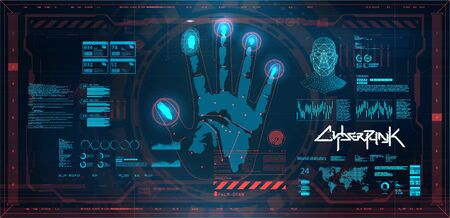 Futuristic scanning hand, palm, fingers and face in HUD style. Biometric recognition system. GUI, UI, HUD smart program personal identification. HUD biometric system, Cyberpunk user interface. Vector