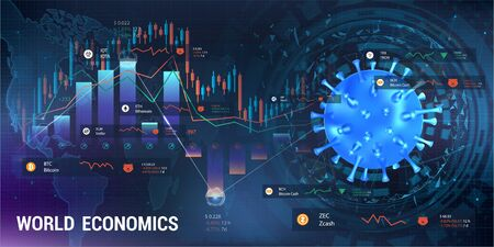 Cryptocurrency and coronavirus, pandemic impact on the cryptocurrency market. 3D virus bacterium with graphs and charts and indicators of the fall in the value of Bitcoin and other cryptocurrencies Illustration
