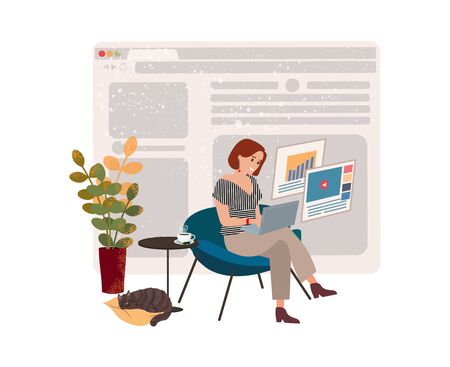 Girl freelancer works at home in quarantine, workspace for remote work online. The concept of work and home education. Girl works at a laptop and drinks coffee. Vector isolated illustration