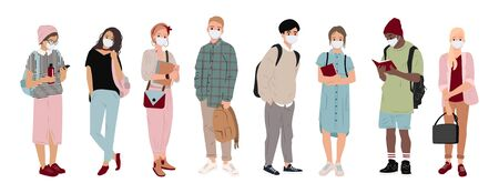 Multiethnic People with medical masks. Young people in medical masks to prevent disease, virus, pandemi Covid-19. Healthcare protected concept. Flat people set. Vector illustration 向量圖像