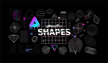Universal modern shapes with glitch effects. Trendy cyberpunk retro futurism set, vaporwave. Digital abstract elements for web design, banners, posters and covers. Futuristic memphis. Vector Illustration