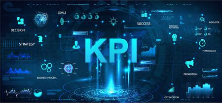 KPI futuristic banner in HUD style with aspects, graphics and icons. Business analytics (BA), Key Performance Indicator, metrics to measure achievement versus planned target. Marketing dashboard