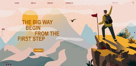 Web banner on the theme of sport tourism, Climbing, hiking, walking. Man with flag and backpack enjoys mountain view and nature. Sports, outdoor recreation, adventures in nature, vacation. Vector