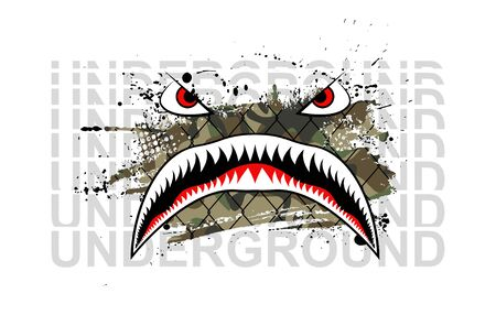 Military print, Flying Tiger Shark with underground text for t-shirt and merch design. Art for Silkscreen clothing. Tiger Shark mouth against the background of a cage and a piece of camouflage. Vector