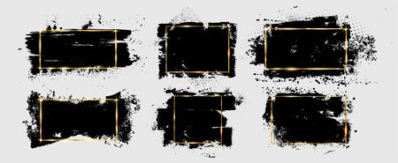Grunge brushstroke and splatter with gold frame. Dirty artistic design element, box, ink background for text. Black splashes isolated on white background. Vector illustration brush strokes backgrounds
