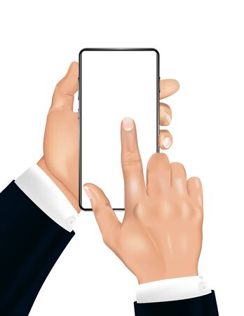 A human hand with smartphone and index finger on the touchscreen. 3D realistic mobile phone and male hands of a businessman in a jacket. Mockup gadget for presentation. Vector illustration