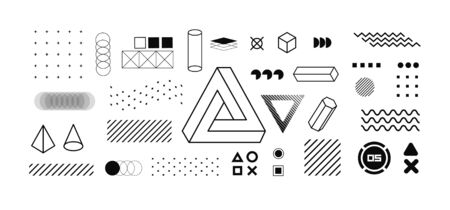 Modern geometric shapes collection. Isolated trendy graphics elements for your design. Vaporwave style, universal geometric shapes and elements on dark background. Vector memphis elements set
