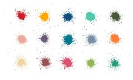 Colorful paint stains set, color splatter. High quality manually tracked. Inked splatter dirt stain spatter spray splashes. Drops blots isolated vector set. Vector collection