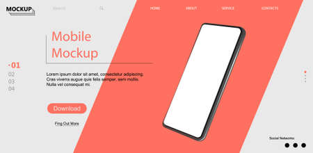 Webpage template with mobile phone. Isometric position. 3d realistic phone in perspective. UI,UX,KIT design. Template for advertising or page to the site, marketing, presentation. Vector illustration Stock fotó - 153862542