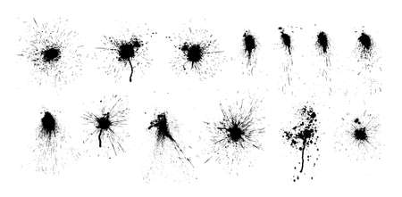 Paint ink splatter, stains set. Splash of paints with drops. High level of tracing and many details. Illustration splash and drip design, silhouette blob spray collection. Vector isolated set Vector Illustratie