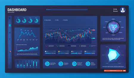 Dark dashboard UI, UX, Kit template with infographics, charts, graphics. Mockup modern web app with Ui graphs round bars and charts, clean and simple app interface. Admin panel with workflow design