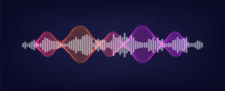 Voice assistant - sound wave. Sound recognition concept and AI assistant voice. Illustration wave flow and equalizer. Vector