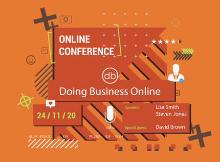 Poster online conference with trendy modern elements. Digital art design invitation online business webinar. Poster in flat style. Beautiful and bright conference poster with place for text. Vector