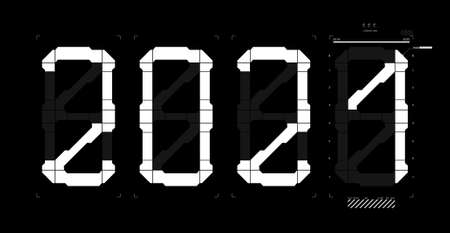 Minimal digital poster 2021 new year in HUD style. Isolated on black background futuristic numbers 2021 with Futuristic User Interface. digital vector illustration - Happy New Year Illusztráció