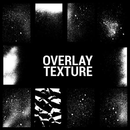 Texture overlays collection. Apply textures to your background to create - dirty grainy stamp, scratches, damage marks, grunge splashes. Dirty ink stamp, urban grunge texture. Vector set Illusztráció