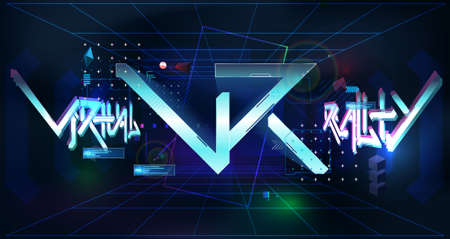 VR neon poster, Virtual reality with tech elements and futuristic graffiti lettering in cyberpunk style. Virtual reality volumetric space with Head-up display design. Modern VR text. Vector Illusztráció
