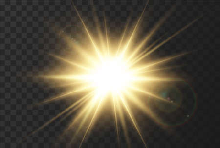 Sun rays effect, very realistic glow of sunlight with glare and rays of the sun. Yellow abstract glitter light. The effect of a flash or bright glow of gold color. Vector illustration