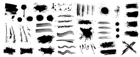 Ink and grunge elements set (splash, brush, paint template, brush stroke, stains, splastter, blob and other textures) Diverse set, dirty elements and high detail. Vector collection grunge