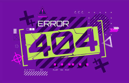 Web page design Error 404 in futuristic style. Page not found, Modern banner for you website. Flat Error 404 with technology background and modern shapes. Vector illustration Illusztráció