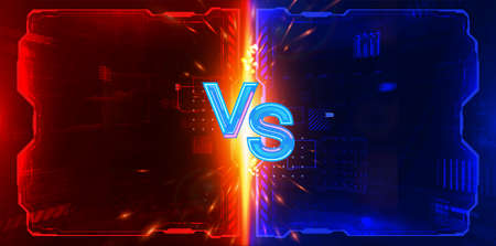 Futuristic Versus poster design for game battle, cyber sport, mma, gaming championship, online tournament. VS GUI letters with neon and glow effect on futuristic red-blue background. HUD Versus Battle