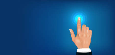 Touch the future head up display. 3D realistic hand businessman. Hand presses the index finger on the touchscreen. Black communication background. Click and touch concept. Vector graphic banner Illusztráció