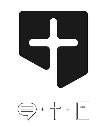 The Christian logo of the church and other institutions combines three concepts (icons) - scripture (bible), Jesus Christ (cross) and evangelism (speaking bubble). Vector isolated icons and logo Stock fotó - 156119393