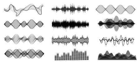 Black and white sound waves. Voice assistant equalizer set on white background. Music audio, voice signal lines, electronic radio signal. Vector curve voice waves. Stock fotó - 155311077