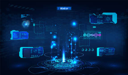 Blue presentation podium for UI, UX, GUI with Head Up Display elements. Circle technology portal HUD. Blank hologram for show your product. Virtual reality concept. Cyberpunk show presentation. Vector Illusztráció