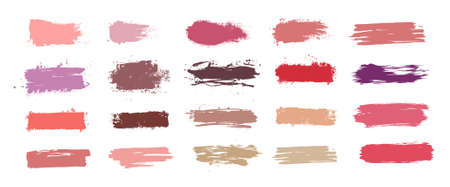 Brushstroke swatch. Makeup paint strokes with fashion 2020 colors, collection patches and smudge effect. Swatches makeup set different tones of trend cosmetics. Vector set for presentation