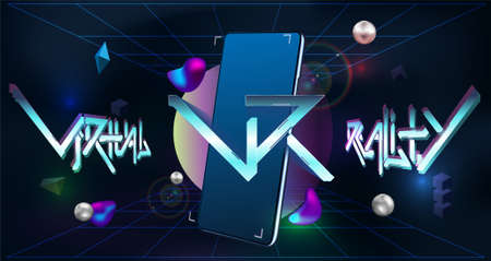 Virtual reality and Augmented reality concept. Shapes for mobile app. VR logo layout with 3d smartphone. Modern banner for web design. Futuristic poster with VR neon. Vector illustration