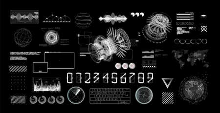 HUD Futuristic User Interface set. Black and white Hi-tech graphics, charts and infographics digital design elements. GUI, UI, Sci-fi digital touch collection. HUD builder set. Vector illustration