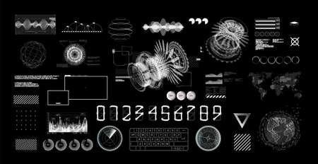 HUD Futuristic User Interface set. Black and white Hi-tech graphics, charts and infographics digital design elements. GUI, UI, Sci-fi digital touch collection. HUD builder set. Vector illustration Stock fotó - 156662420
