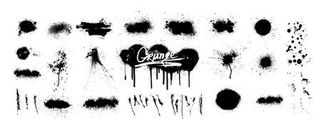 Graffiti spray and dirty grunge splash collection. Isolated set with great detail. Spray paint shapes with smudges and drops. Graffiti template mockups. Vector Stock fotó - 156662421