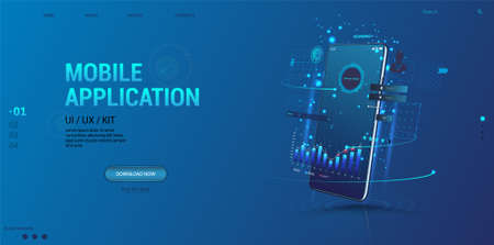 Web Advertising - Smartphone Applications UI, UX, KIT. Mobile app with business graph and analytics, statistic and data on perspective smartphone. Web design banner, business, trading, finance app.