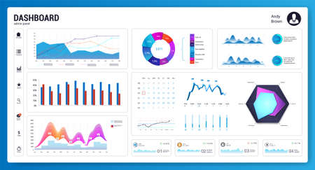 White infographic dashboard with diagrams, infochart, graphics. Admin panel with Colorful interface. Website design vector mockup. Graph and infographics and data visualization. UI, UX, KIT. vector Illusztráció