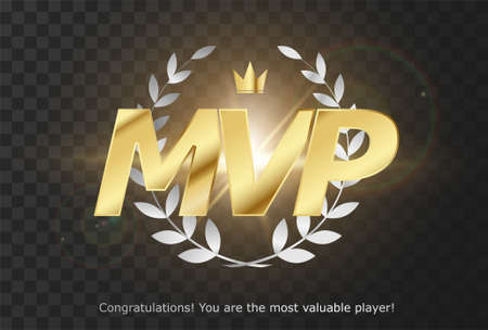 Gold inscription MVP - emblem reward Most Valuable Player for GUI. PC, consoles or mobile gaming. Isolated wreath with crown and MVP status for the winner. Game poster. Vector illustration 向量圖像