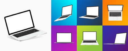 Different angles laptops and colorful backgrounds. Notebooks with blank screens. Mockup 3D realistic devices. Top view, isometric, perspective and frontal. Presentation laptops. Vector Ilustração