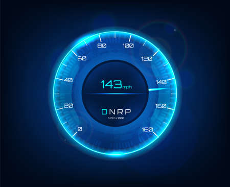 Modern car speedometer. Futuristic speedometer and tachometer for car with speed in miles and transfer, blue color. HUD dashboard auto. Vector isolated illustration