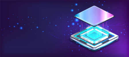 Futuristic CPU microchip banner in isometric position with lights and glow effects. Processor microchip, large data processing, database concept, Quantum computing, AI. Vector CPU illustration
