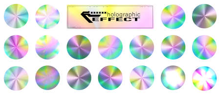 Holographic glitter texture collection. Round shiny gradient foil texture. Trendy background for logos, posters, covers. Pastel neon rainbow. Ultraviolet metallic paper. Holographic template. Vector